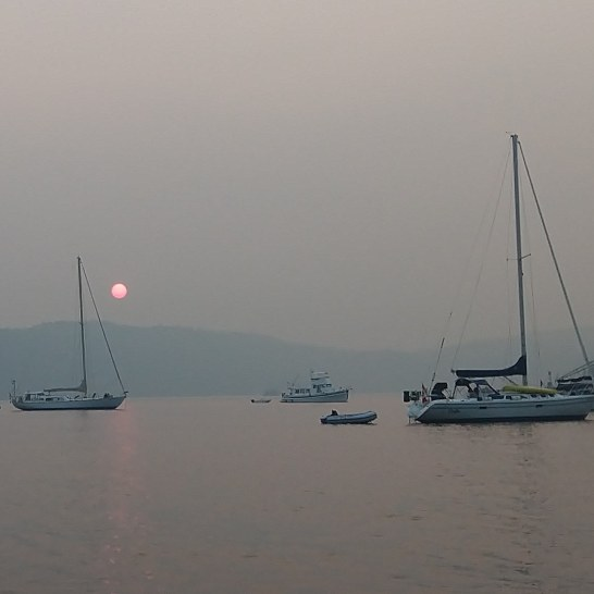 Smokey sunset at Bedwell.