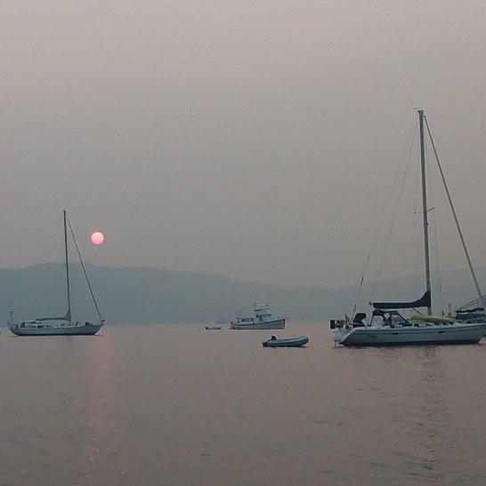 Smokey sunset at Bedwell.